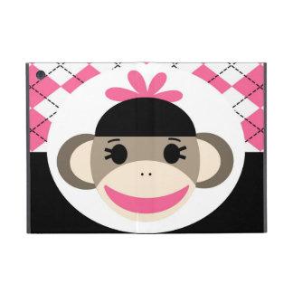 Negro lindo Argyle del rosa del mono del calcetín  iPad Mini Protectores