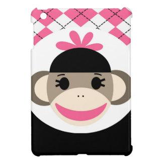 Negro lindo Argyle del rosa del mono del calcetín  iPad Mini Protector
