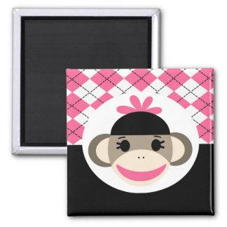 Negro lindo Argyle del rosa del mono del calcetín  Imán Cuadrado