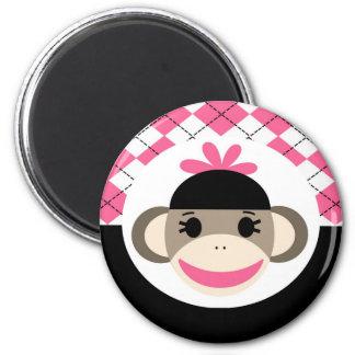 Negro lindo Argyle del rosa del mono del calcetín Imán Redondo 5 Cm