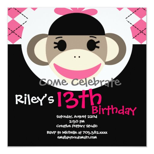 Negro lindo Argyle del rosa del mono del calcetín Invitación 13,3 Cm X 13,3cm