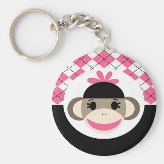 Negro lindo Argyle del rosa del mono del calcetín Llavero Redondo Tipo Pin