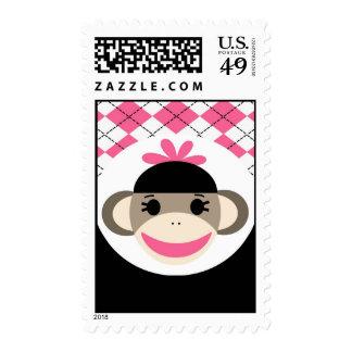 Negro lindo Argyle del rosa del mono del calcetín Envio