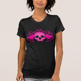 Negro lindo del cráneo rosado del vampiro playera