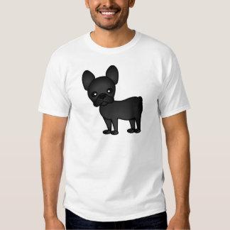 Negro lindo del dibujo animado del dogo francés remera