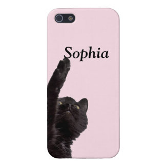 Negro lindo del rosa del gato negro del caso del iPhone 5 carcasas