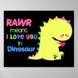 NEGRO LINDO ESTUPENDO RAWR del poster del dinosaur
