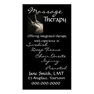 Negro liso de la terapia del masaje tarjetas de visita