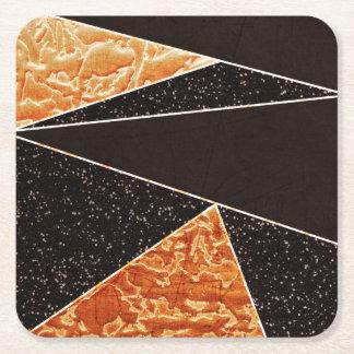 Negro llamativo y modelo geométrico del oro posavasos desechable cuadrado
