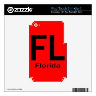 Negro llano de FL la Florida iPod Touch 4G Skin