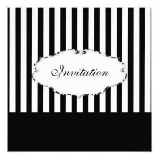 Negro llano de las rayas de PixDezines + blanco ma Comunicados Personalizados
