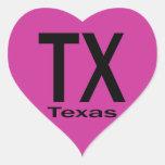 Negro llano de TX Tejas Calcomanía De Corazón