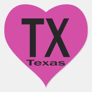 Negro llano de TX Tejas Pegatina En Forma De Corazón