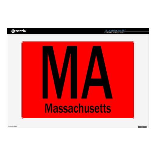 Negro llano del mA Massachusetts Calcomanía Para 38,1cm Portátil