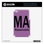 Negro llano del mA Massachusetts iPod Touch 4G Skins