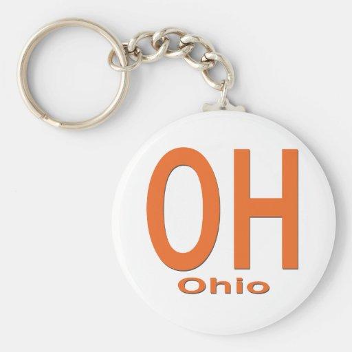 Negro llano del OH Ohio Llavero Redondo Tipo Pin