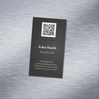 Negro llano elegante simple - código profesional tarjetas de visita magnéticas (paquete de 25)