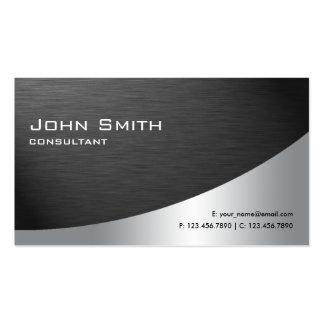Negro llano moderno elegante del metal profesional tarjetas de visita