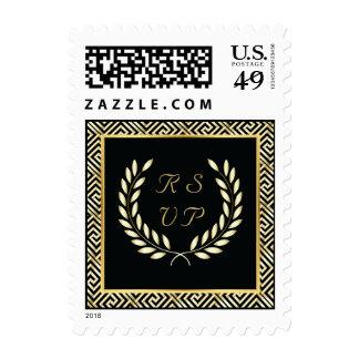 Negro llave griega del oro y guirnalda del laurel