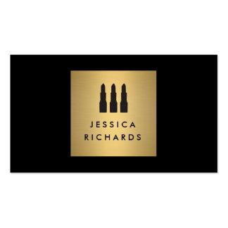 Negro/logotipo del trío del lápiz labial del oro tarjetas de visita