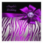 Negro magenta púrpura de la plata de la cebra de l invitacion personalizada