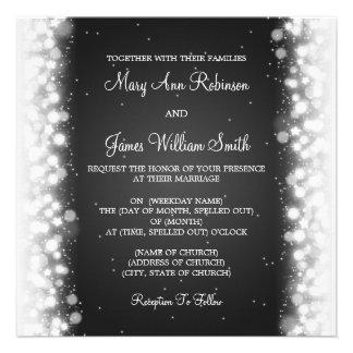 Negro mágico de la chispa del boda elegante invitacion personal