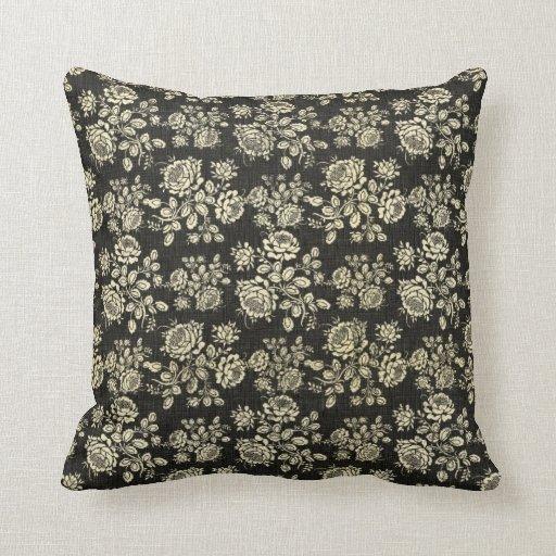 Negro magnífico y floral poner crema, damasco del  almohada