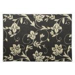 Negro magnífico y floral poner crema, damasco del  manteles individuales