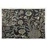 Negro magnífico y floral poner crema, damasco del  manteles