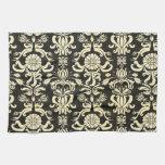 Negro magnífico y floral poner crema, damasco del  toallas de mano