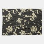 Negro magnífico y floral poner crema, damasco del  toallas de cocina