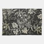 Negro magnífico y floral poner crema, damasco del  toallas