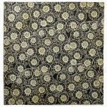 Negro magnífico y floral poner crema, damasco del  servilletas imprimidas