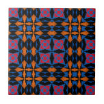 Negro, mandarina, azul, tela roja del nativo ameri azulejos cerámicos