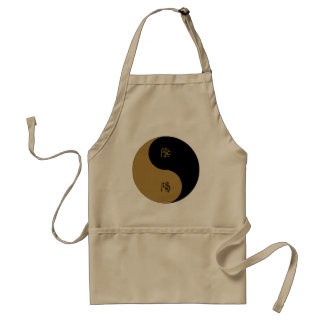 Negro marrón de Yin Yang n del kanji Delantales