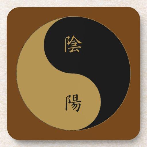 Negro marrón de Yin Yang n del kanji Posavasos