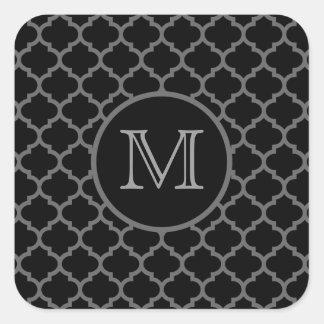 Negro marroquí del enrejado pegatina cuadrada