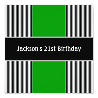 """Negro masculino y el blanco raya al Partido Verde Invitación 5.25"""" X 5.25"""""""