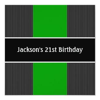 """Negro masculino y el gris raya al Partido Verde Invitación 5.25"""" X 5.25"""""""