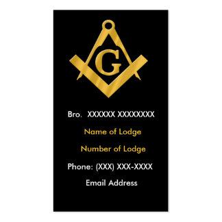 Negro masónico y oro del negocio plantilla de tarjeta de visita