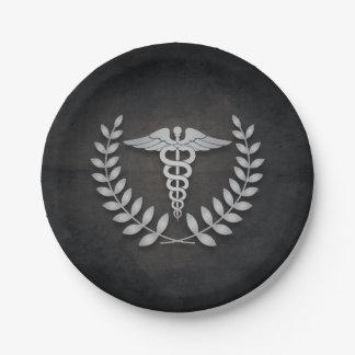 Negro + Médicos fiesta del caduceo de plata Plato De Papel De 7 Pulgadas
