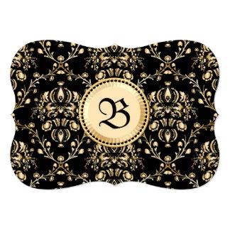 """Negro medieval del damasco elegante con clase del invitación 5"""" x 7"""""""