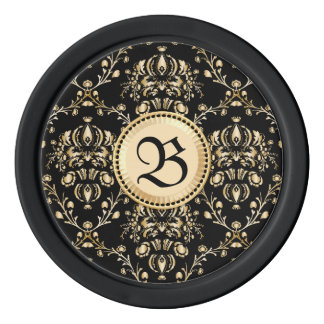 Negro medieval del damasco elegante con clase del juego de fichas de póquer