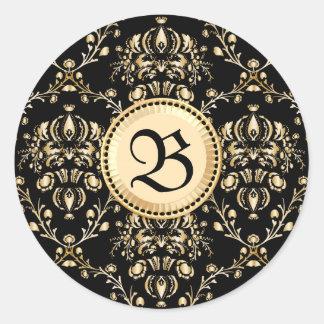 Negro medieval del damasco elegante con clase del pegatina redonda