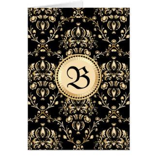 Negro medieval del damasco elegante con clase del tarjeta de felicitación
