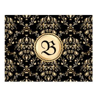 Negro medieval del damasco elegante con clase del tarjetas postales
