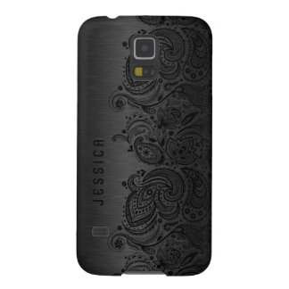 Negro metálico con el cordón negro de Paisley Funda Para Galaxy S5