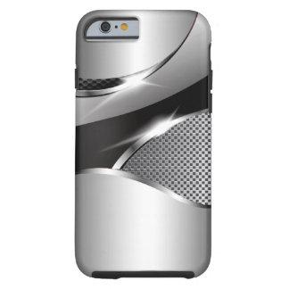 Negro metálico de la redada de la malla del cromo funda resistente iPhone 6