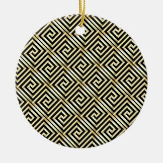 Negro, modelo dominante griego del oro adorno redondo de cerámica