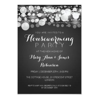 Negro moderno de los puntos del fiesta del estreno invitación 12,7 x 17,8 cm